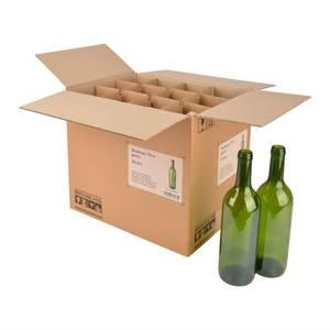 Bilde av Eske med 12stk 75cl vinflasker, grønne